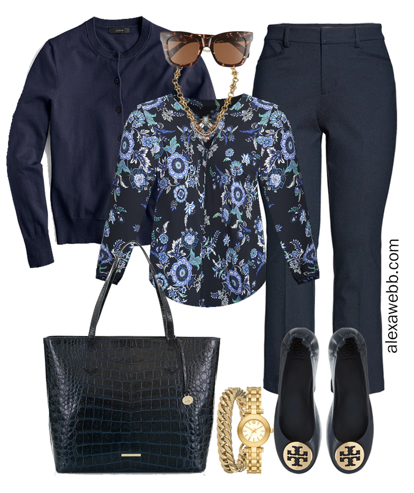 Plus Size Spring Work Outfit Idea from a Plus Size Spring Work Capsule Wardrobe with a Navy Bootcut Pants and a Blue Printed Top with a Navy Cardigan - Alexa Webb