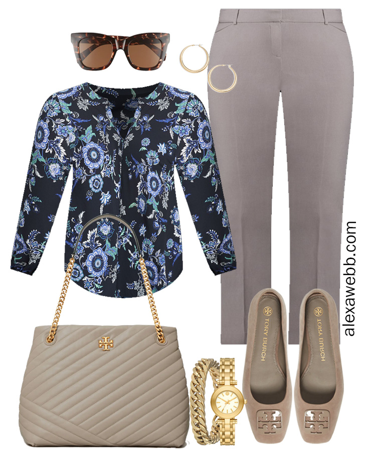Plus Size Spring Work Outfit Idea from a Plus Size Spring Work Capsule Wardrobe with Grey Pants and a Blue Printed Top - Alexa Webb