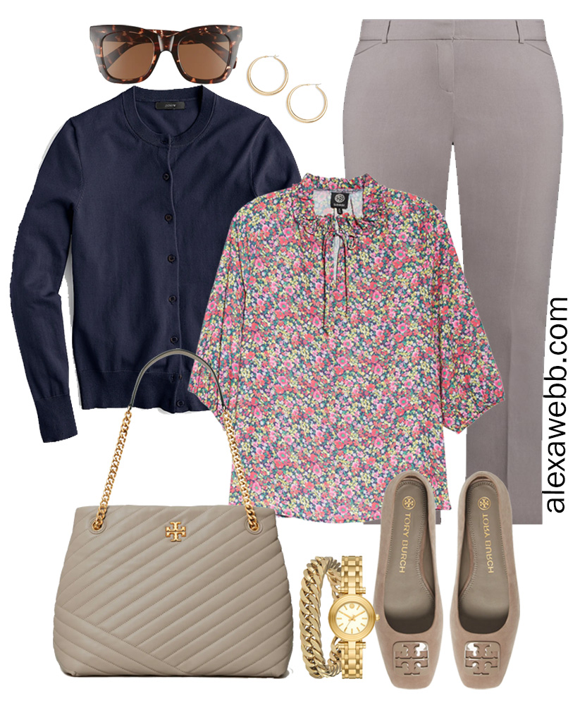 Plus Size Spring Work Outfit Idea from a Plus Size Spring Work Capsule Wardrobe with Gray Trousers, Floral Top, and Navy Cardigan - Alexa Webb