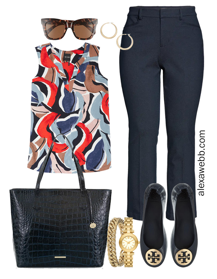 Plus Size Spring Work Outfit Idea from a Plus Size Spring Work Capsule Wardrobe with Navy Bootcut Pants and a Blue Printed Sleeveless Top - Alexa Webb