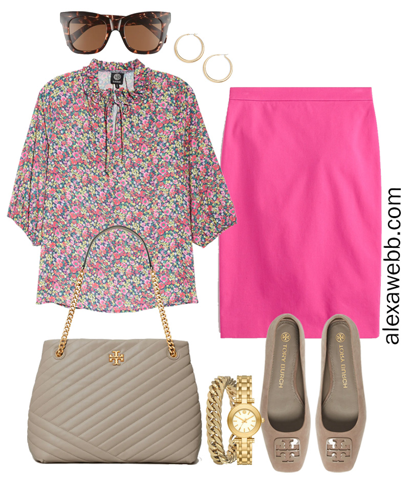 Plus Size Spring Work Outfit Idea from a Plus Size Spring Work Capsule Wardrobe with a Hot Pink Magenta Skirt and a Floral Top - Alexa Webb