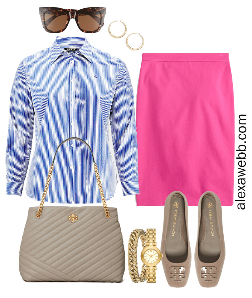 Plus Size Spring Work Outfit Idea from a Plus Size Spring Work Capsule Wardrobe with a Hot Pink Magenta Skirt and a Blue and White Stripe Button Down Shirt - Alexa Webb