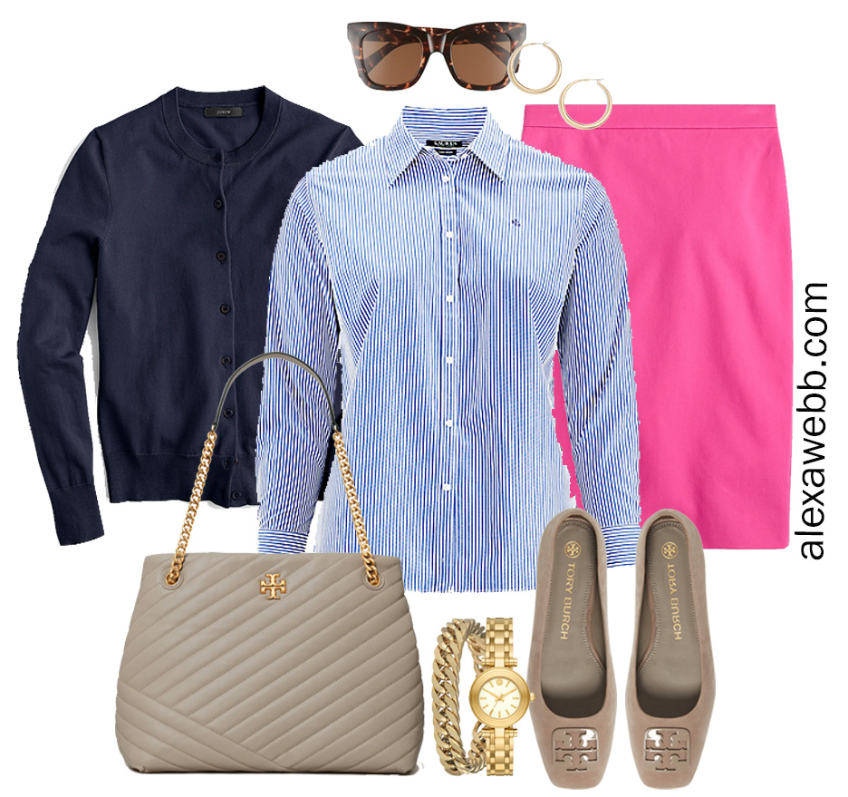 Plus Size Spring Work Outfit Idea from a Plus Size Spring Work Capsule Wardrobe with a Hot Pink Magenta Skirt, a Blue and White Stripe Button Down Shirt and a Navy Cardigan - Alexa Webb