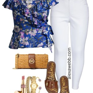 Plus Size White Jeans & Floral Top Outfit with slide sandals, and a rattan clutch - Alexa Webb