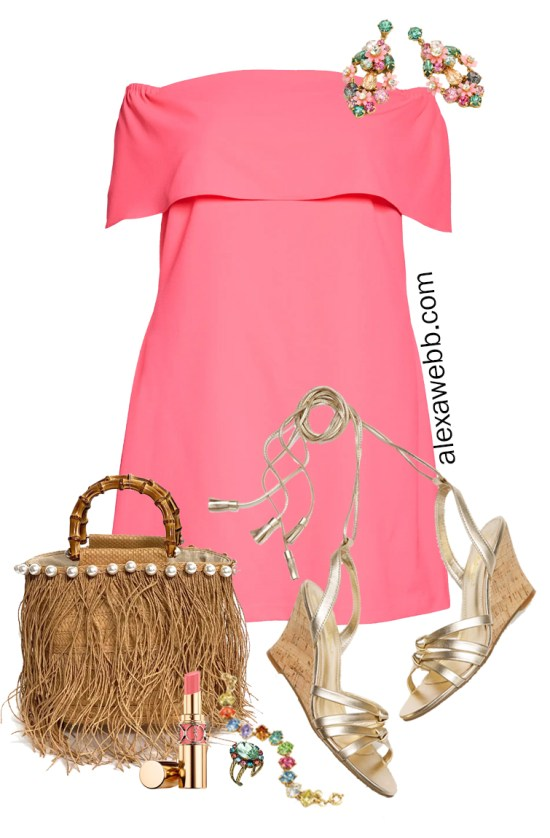 Plus Size Cocktail Dress for a Summer Wedding with Coral Pink Dress and Straw Clutch - Alexa Webb