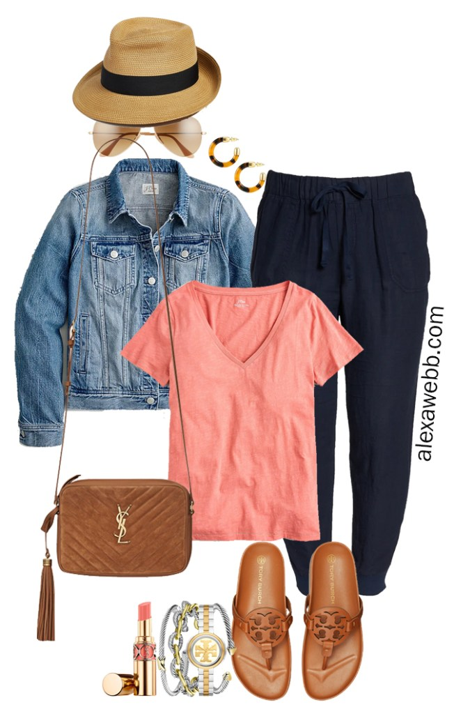 Plus Size Navy Linen Joggers with a straw fedora, coral pink t-shirt, denim jacket, Tory Burch Miller Cloud sandals, and Crossbody Bag - Alexa Webb
