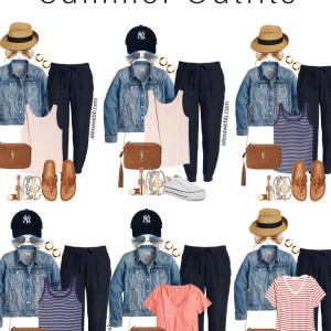 Plus Size Summer Outfit Ideas and Mini-Capsule with Navy Linen Joggers - Alexa Webb