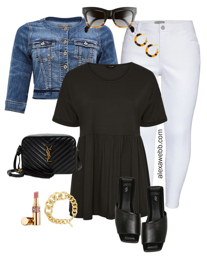 Plus Size Peplum Tee Outfit with White Skinny Jeans, Denim Jacket, and Slide Sandals - Alexa Webb