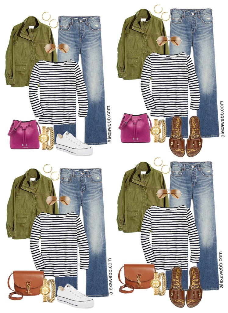 Plus Size Spring Casual Capsule Wardrobe with Jeans, T-Shirt, Scarf, Sneakers, and Sandals - Alexa Webb