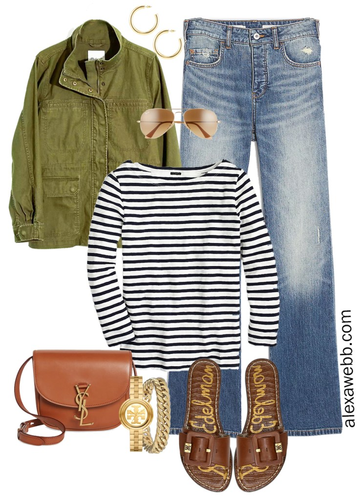 An Outfit Idea from a Plus Size Spring Casual Capsule Collection with a utility jacket, bootcut jeans, stripe t-shirt, and slide sandals - Alexa Webb