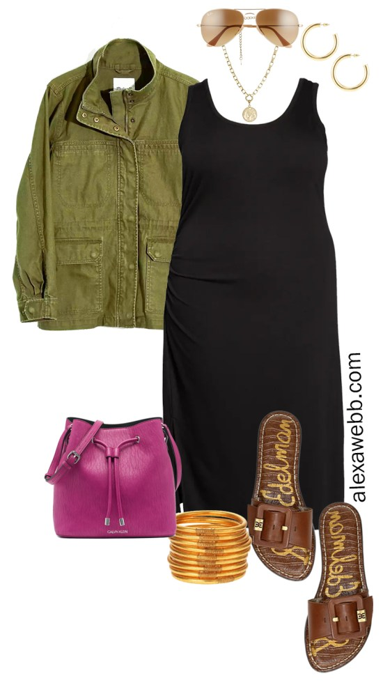 Plus Size Black Tank Dress Outfit for Spring and Summer with a Olive Green Utility Jacket, Magenta Crossbody Bag, and Slide Sandals - Alexa Webb