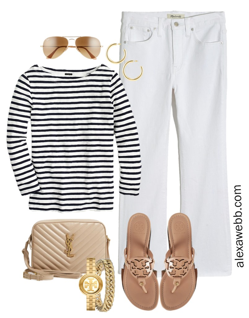 Plus Size Spring Casual Outfit with bootcut cropped white jeans, stripe t-shirt, beige YSL crossbody bag, and makeup Tory Burch Miller sandals - Alexa Webb