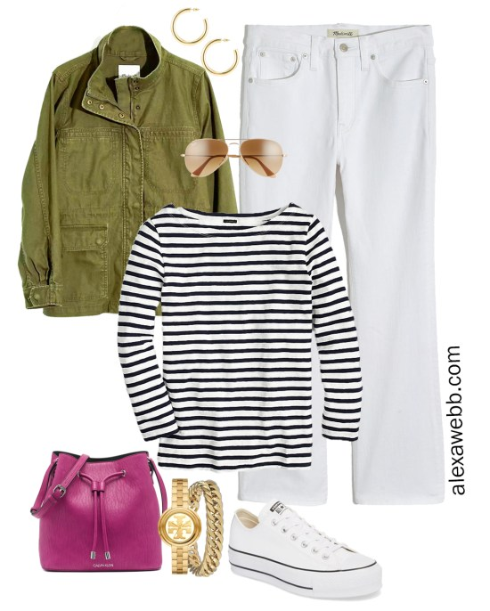 Plus Size Spring Casual Capsule Outfit Idea with an olive utility jacket, cropped bootcut white jeans, stripe t-shirt, and magenta crossbody bag - Alexa Webb