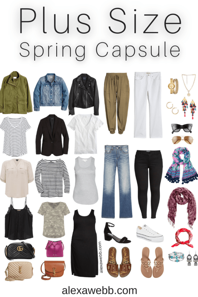 Plus Size Spring Casual Capsule Wardrobe - Part 1 with an essential list of plus size spring clothing - 16 pieces with countless outfits - Alexa Webb