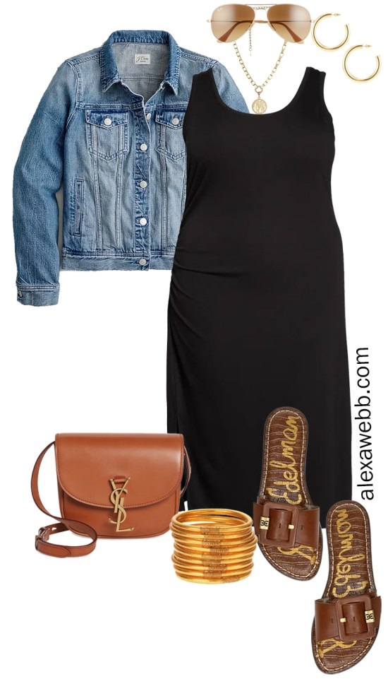 Plus Size Black Tank Dress Outfit for Spring and Summer with a Denim Jacket, Tan Crossbody Bag, and Slide Sandals - Alexa Webb