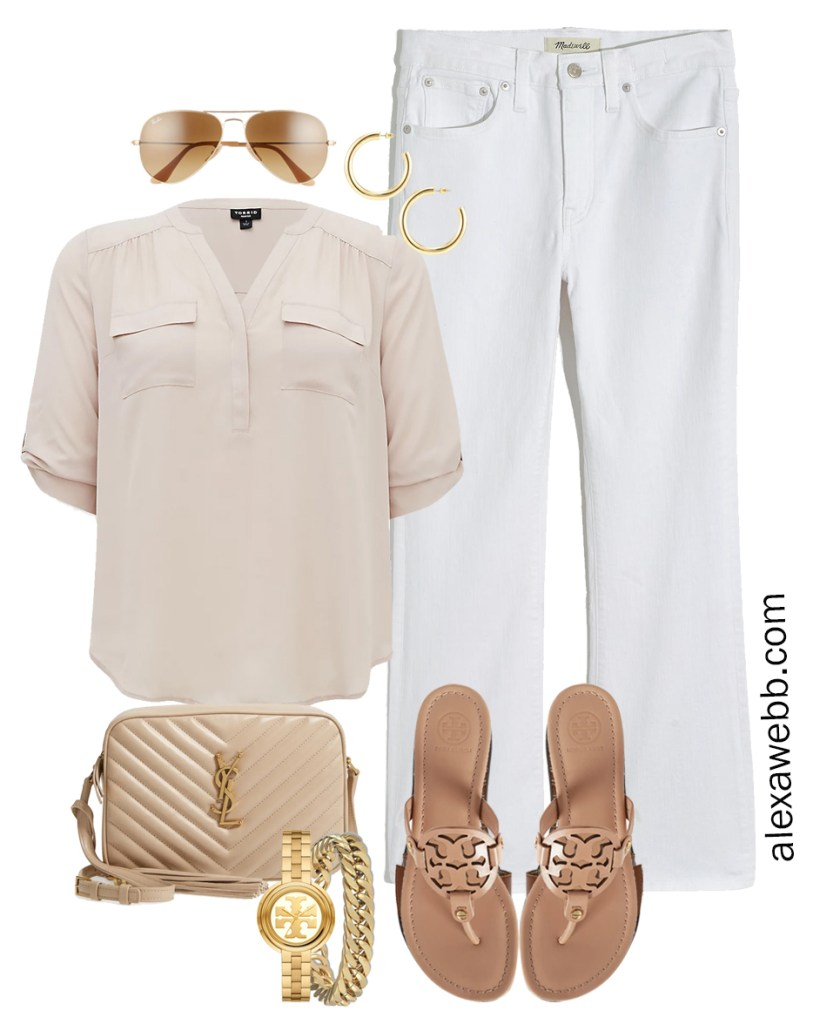 Plus Size Spring Outfit Idea from a Capsule with White Cropped Bootcut Jeans, a Taupe Top, Beige YSL Crossbody Bag, and Tory Burch Miller Sandals - Alexa Webb