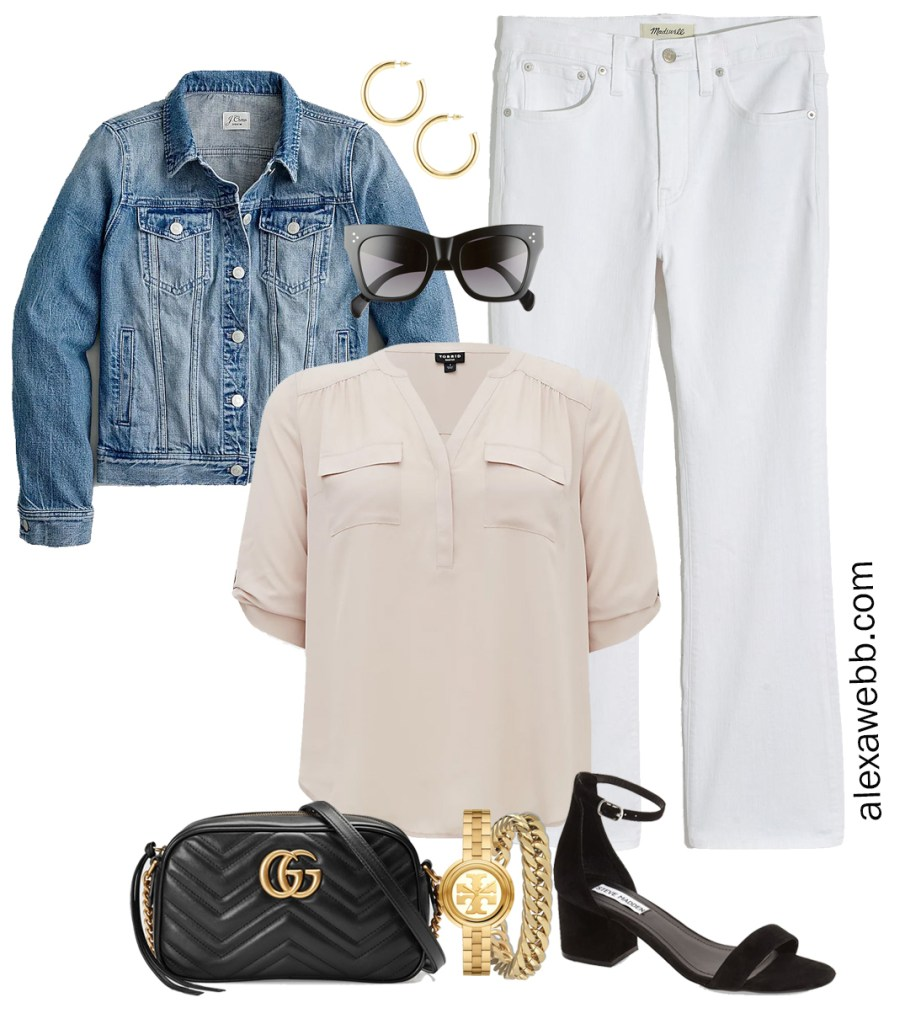 Plus Size Spring Outfit Idea from a Capsule with a Blue Denim Jean Jacket, White Cropped Bootcut Jeans, a Taupe Top, Black Gucci Crossbody Bag, and Black Heeled Ankle Strap Sandals - Alexa Webb
