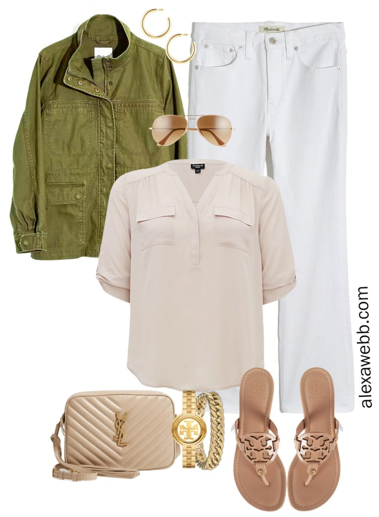 Plus Size Spring Outfit Idea from a Capsule with an Olive Green Utility Jacket, White Cropped Bootcut Jeans, a Taupe Top, Beige YSL Crossbody Bag, and Tory Burch Miller Sandals - Alexa Webb