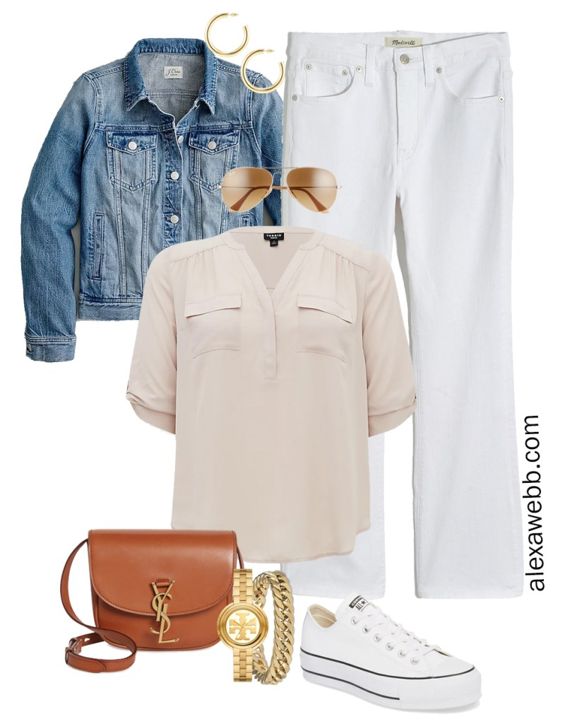 Plus Size Spring Outfit Idea from a Capsule with a Blue Denim Jean Jacket, White Cropped Bootcut Jeans, a Taupe Top, Tan YSL Crossbody Bag, and White Converse Sneakers - Alexa Webb