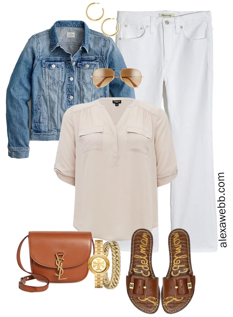 Plus Size Spring Outfit Idea from a Capsule with a Blue Denim Jean Jacket, White Cropped Bootcut Jeans, a Taupe Top, Tan YSL Crossbody Bag, and Tan Slide Sandals - Alexa Webb
