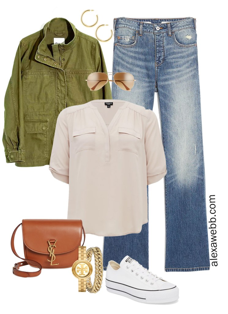 Plus Size Spring Outfit Idea from a Capsule with an Olive Green Utility Jacket, Bootcut Jeans, a Taupe Top, Tan YSL Crossbody Bag, and White Platform Converse Sneakers - Alexa Webb