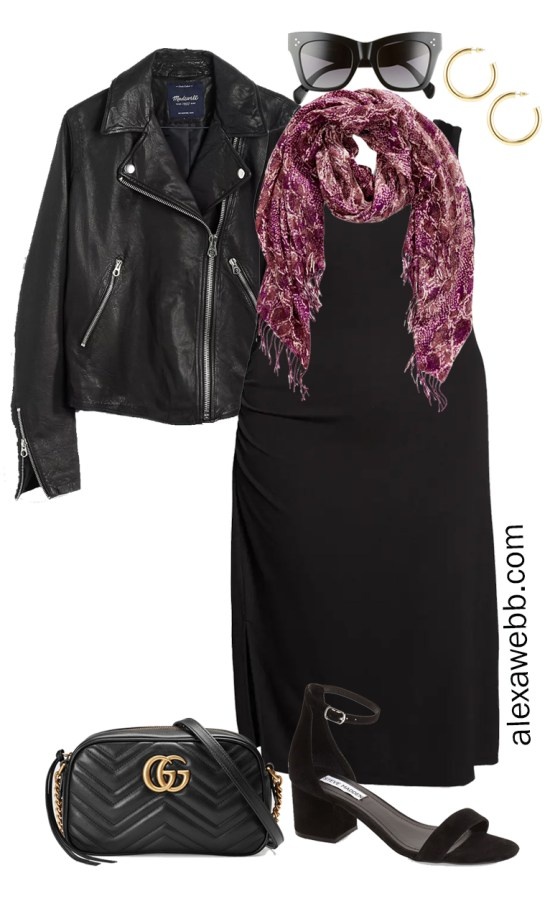 Plus Size Black Tank Dress Outfit for a Night Out with Black Leather Biker Jacket, Gucci Crossbody Bag, and Heeled Sandals - Alexa Webb