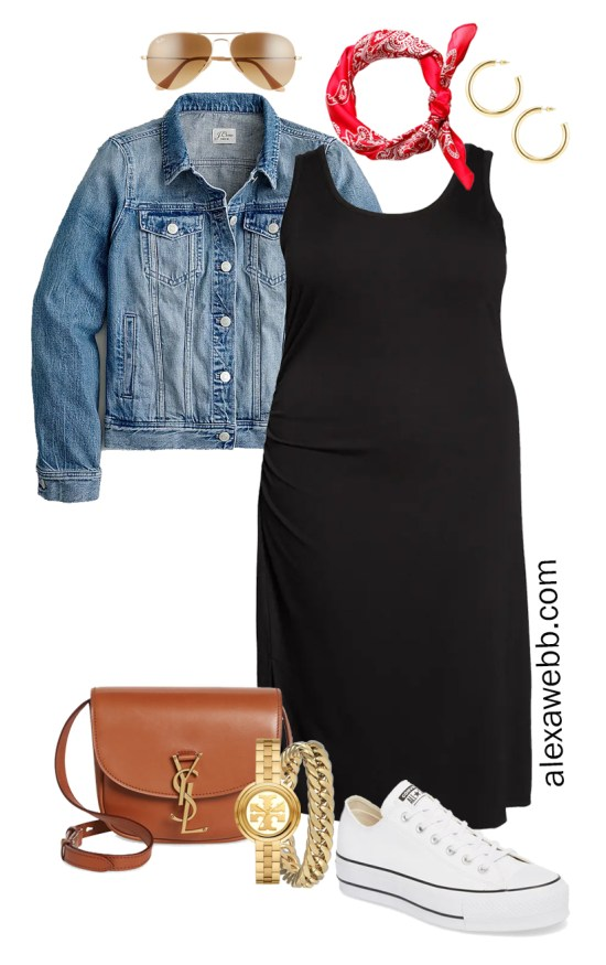 Plus Size Black Tank Dress Outfit for Spring and Summer with a Red Bandana, Denim Jacket, Tan Crossbody Bag, and White Platform Sneakers - Alexa Webb