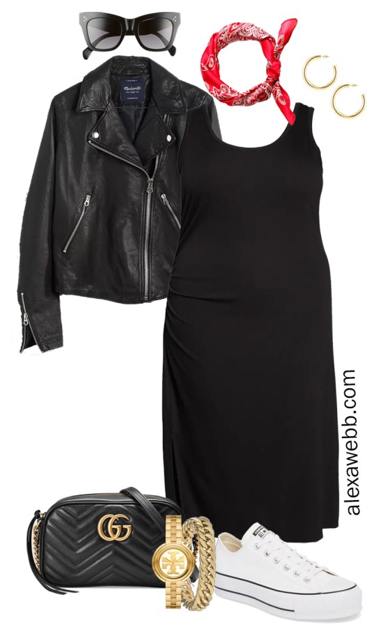 Plus Size Black Tank Dress Outfit for Spring and Summer with a Red Bandana, Black Leather Biker Jacket, Tan Crossbody Bag, and White Platform Sneakers - Alexa Webb