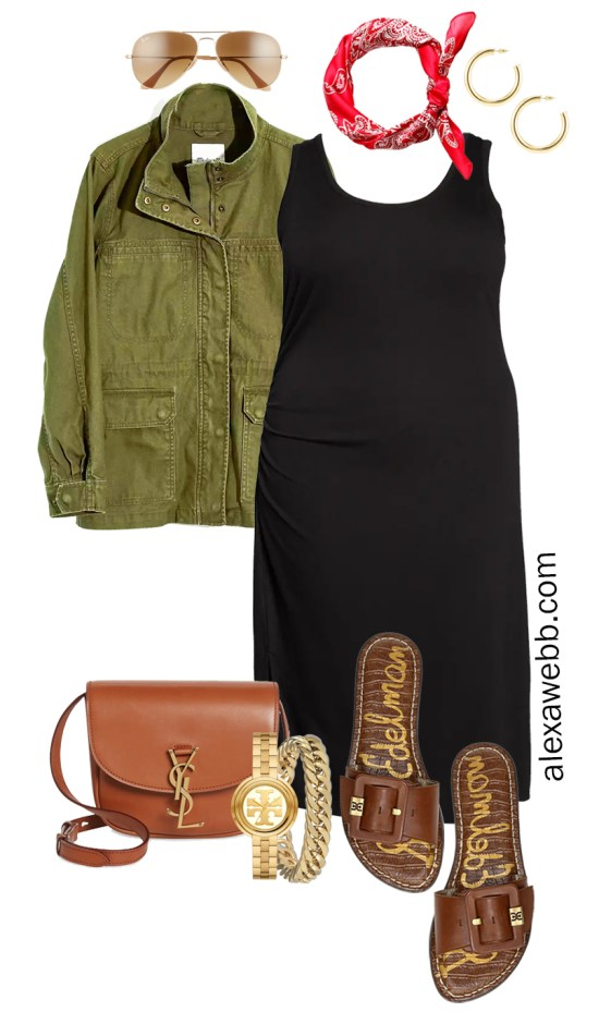 Plus Size Black Tank Dress Outfit for Spring and Summer with a Red Bandana, Olive Green Utility Jacket, Tan Crossbody Bag, and Slide Sandals - Alexa Webb