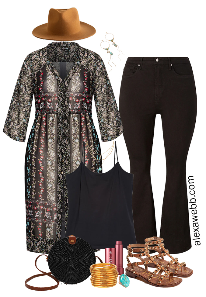 Plus Size Black Flares Boho Outfit with a Chiffon Cardigan Kimono for Summer, Camisole, Black Flare Jeans, and Studded Sandals - Alexa Webb