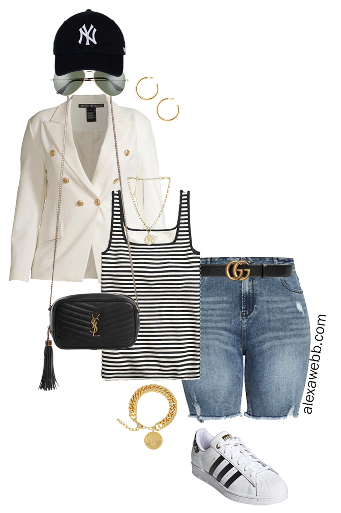 Plus Size White Blazer Outfits – Sporty Cut-Offs with a white double-breasted blazer, stripe tank top, and cut-off denim shorts, crossbody bag, baseball cap, and Adidas Superstar Sneakers - Alexa Webb