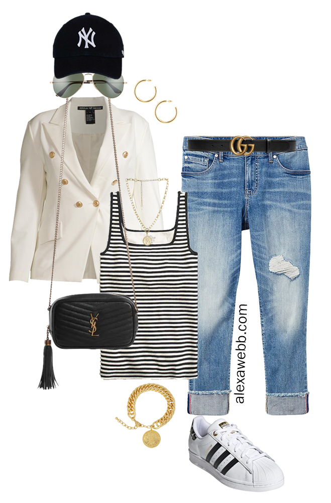 Plus Size White Blazer Outfits – Sporty Cut-Offs with a white double-breasted blazer, stripe tank top, and boyfriend jeans, crossbody bag, baseball cap, and Adidas Superstar Sneakers - Alexa Webb