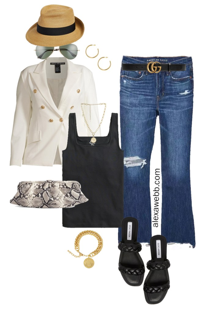 Plus Size White Blazer Outfits – Night Out Cut-Offs with black tank top, white double-breasted blazer, flared jeans, Gucci belt, snake clutch, and braided sandals - Alexa Webb