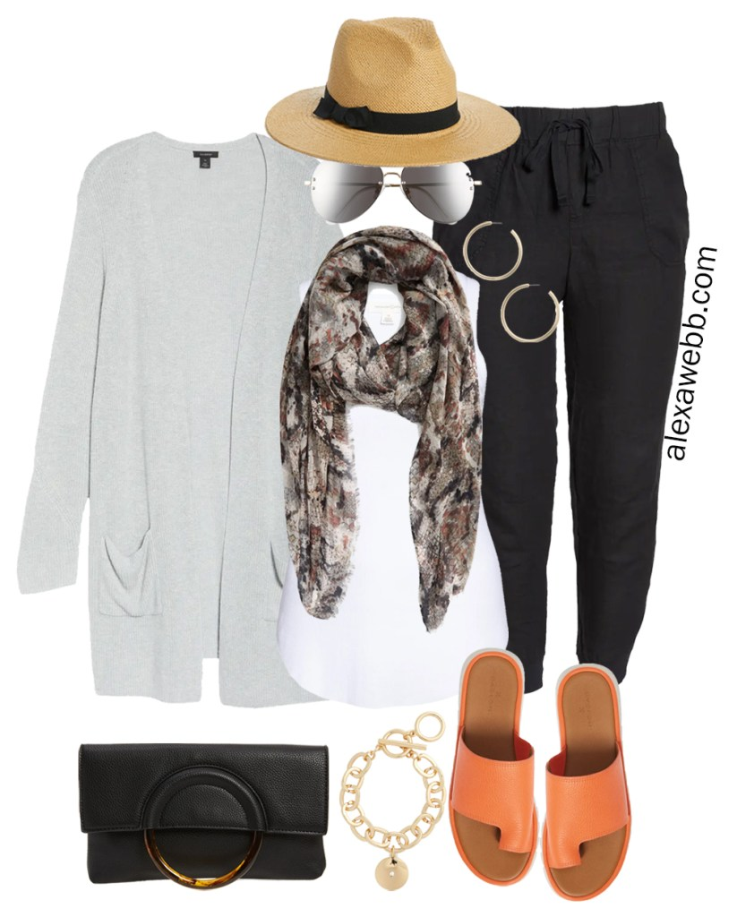 Plus Size Linen Joggers with grey cardigan, snake scarf, Panama hat, and orange sandals for summer. Alexa Webb
