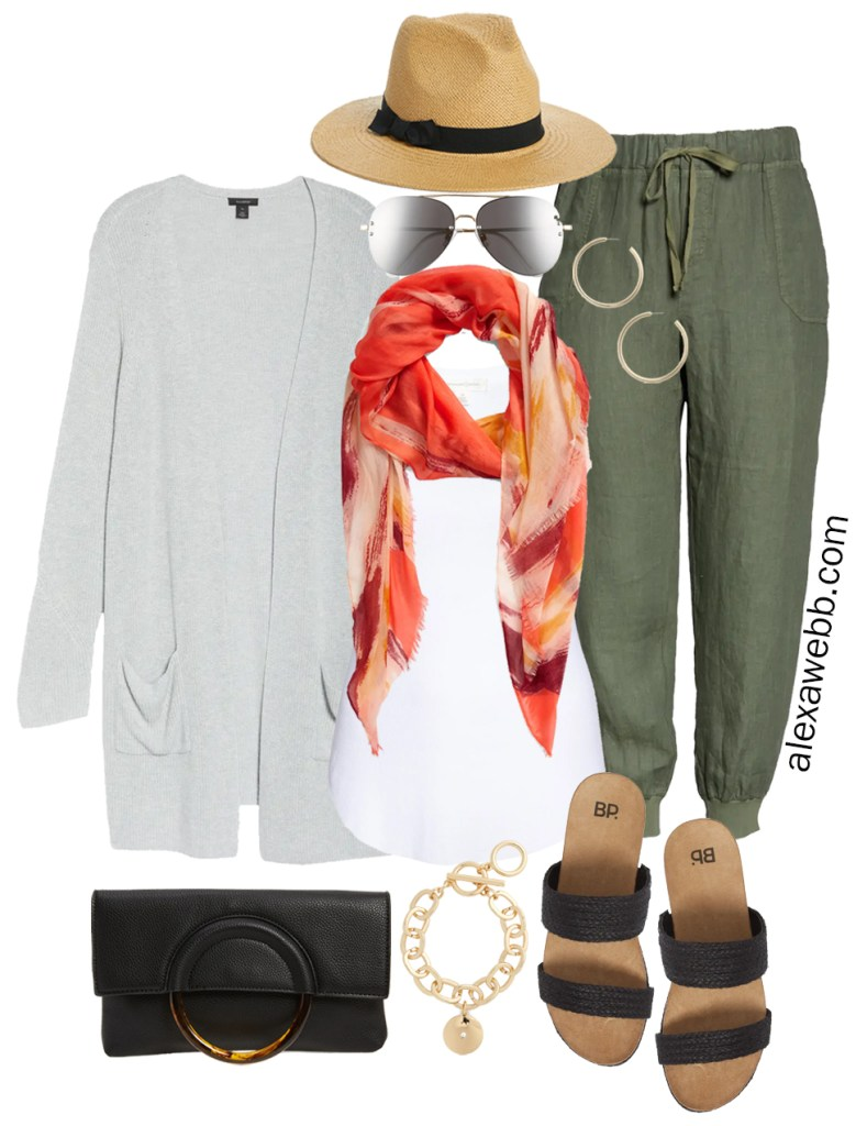 Plus Size Olive Green Linen Joggers for Summer Outfits with a grey cardigan, orange scarf, Panama hat, sandals and clutch - Alexa Webb