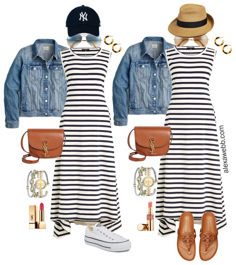 Plus Size Casual Stripe Dress Outfits with navy and white striped dress, denim jacket, straw fedora or baseball cap, and Tory Burch Miller Cloud sandals or Converse platform sneakers - Alexa Webb