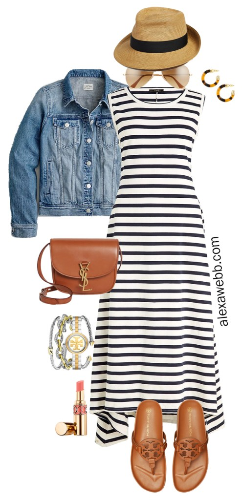 Plus Size Navy and White Stripe Dress Outfit Idea for Summer with straw fedora, denim jacket, crossbody bag, and Tory Burch Miller Cloud Sandals - Alexa Webb