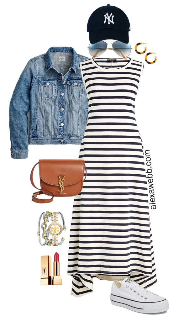 Plus Size Navy and White Stripe Dress Outfit Idea for Summer with navy baseball cap, denim jacket, crossbody bag, and Converse Platform Sneakers - Alexa Webb