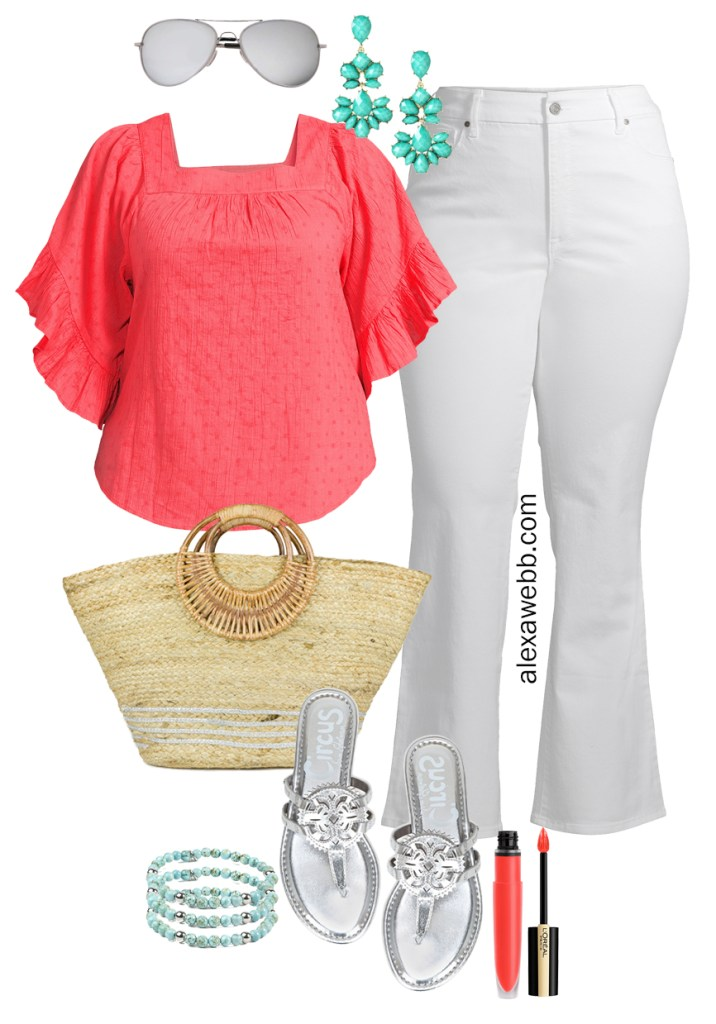 Plus Size Spring Style with Walmart - Plus Size Spring Outfit Ideas with a Coral Top, White Flare Jeans, Straw Tote, and Silver Sandals - Alexa Webb