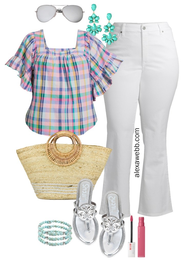 Plus Size Spring Style with Walmart - Plus Size Spring Outfit Ideas with a Plaid Top, White Flare Jeans, Straw Tote, and Silver Sandals - Alexa Webb