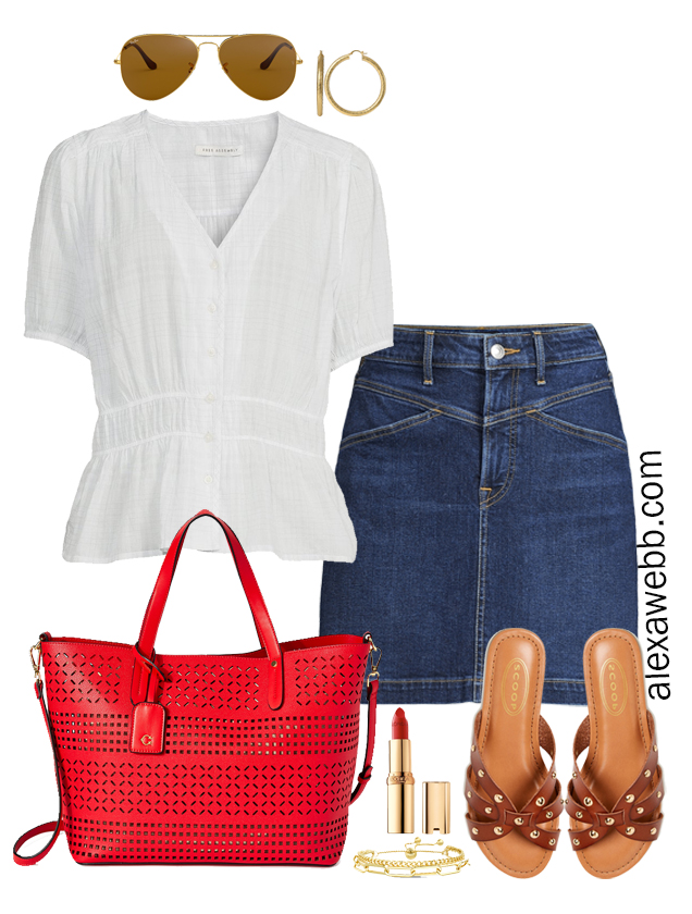 Plus Size Spring Casual Outfit with Walmart featuring a denim jean skirt, a cute white top, and bright red tote bag with sandals - Alexa Webb