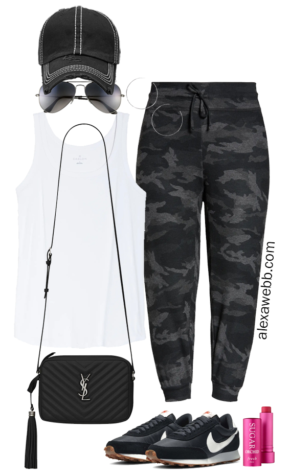Plus Size Joggers Athleisure Outfit with White Tank Top, Camo Joggers, and Sneakers - Alexa Webb
