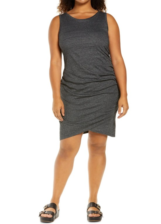 Plus Size Ruched Sleeveless Jersey Dress in Charcoal Grey - Alexa Webb