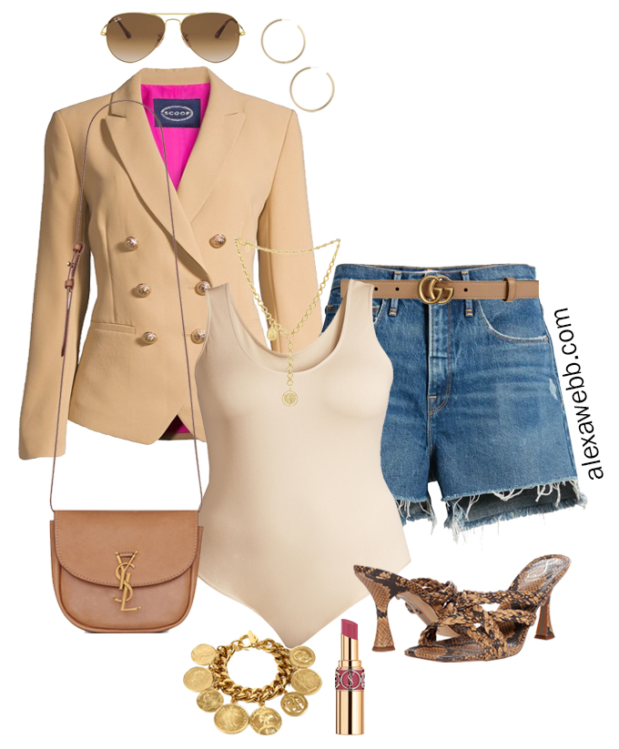 Plus Size Summer Blazer Outfits - Shorts with plus size cut off denim shorts, beige double breasted blazer, bodysuit, snake heeled sandals, and Gucci belt - Alexa Webb