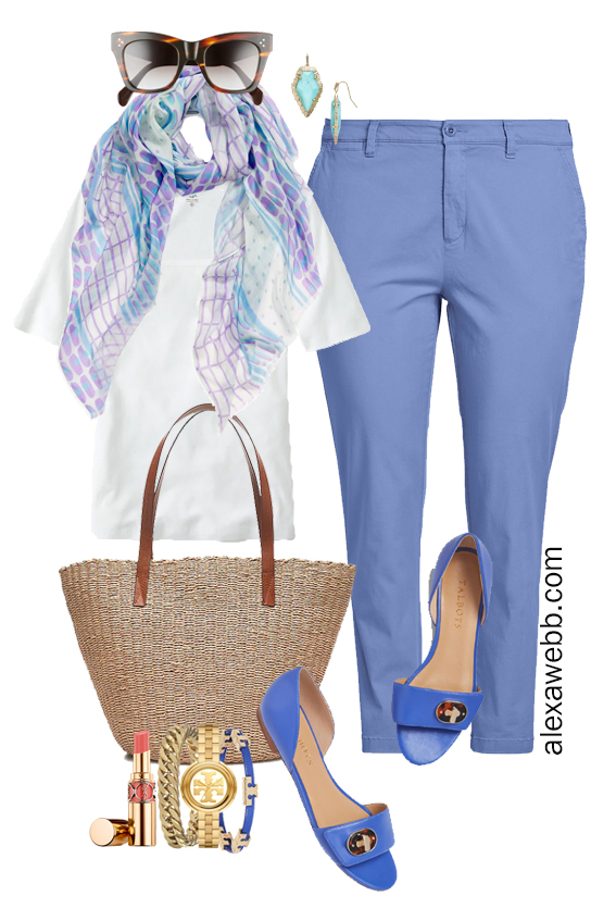 Plus Size Summer Chinos Work Outfit for Business Casual with Blue Chino Pants and a Lightweight Silk Scarf - Alexa Webb