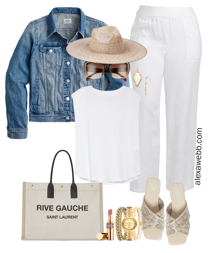 Plus Size All White Outfit with plus size white linen pants, white top, snake print sandals, straw hat, denim jacket, and canvas tote bag. Perfect resortwear for summer vacations - Alexa Webb