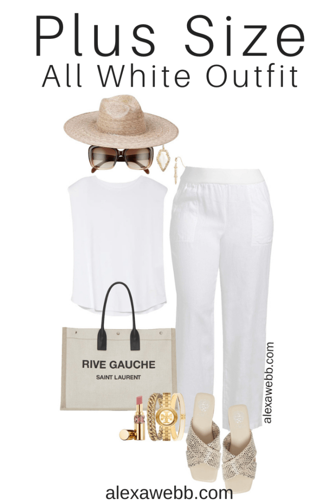 Plus Size All White Outfit with plus size white linen pants, white top, snake print sandals, straw hat, and canvas tote bag. Perfect resortwear for summer vacations - Alexa Webb