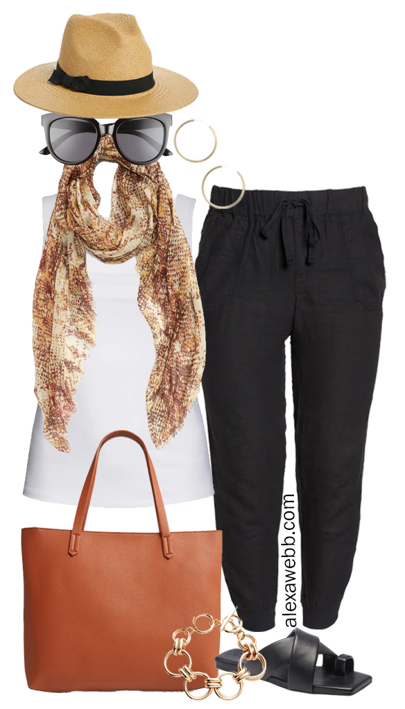 Plus Size Linen Outfits with black linen joggers and white square neck tank top, snake scarf, tote bag, and flat sandals - Alexa Webb