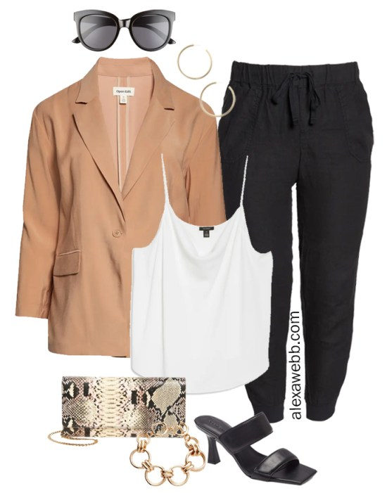 Plus Size Linen Outfits with black linen joggers, tan blazer, white cami, snake clutch, and heeled sandals - Alexa Webb