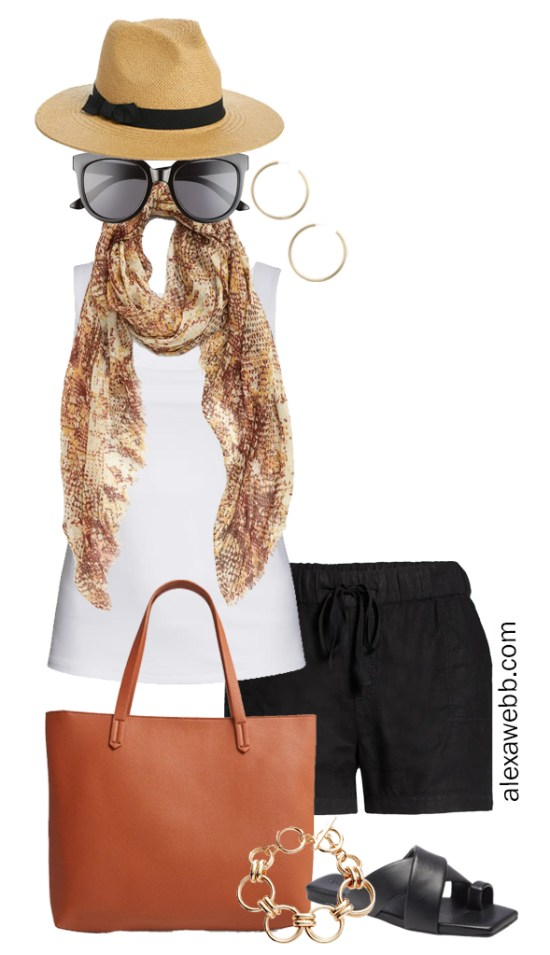Plus Size Linen Outfits with black linen shorts and white square neck tank top, snake scarf, tote bag, and flat sandals - Alexa Webb